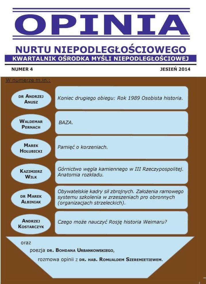 Opinia Nurtu Niepodległościowego nr 4 (PDF)